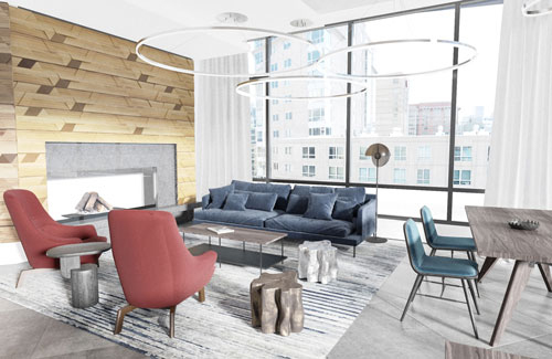 Spacious resident lounge area with upscale furniture at Ora Seaport luxury apartments in Boston