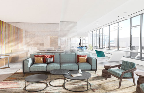 Comfortable resident lounge living area at Ora Seaport luxury apartments in Boston