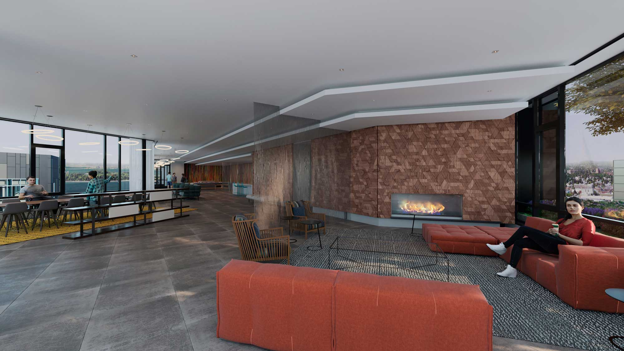 Common area with warm tones and a fireplace