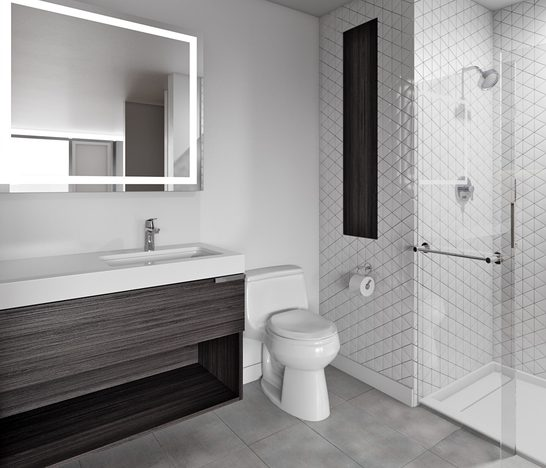 White and grey bathroom with glass walled shower