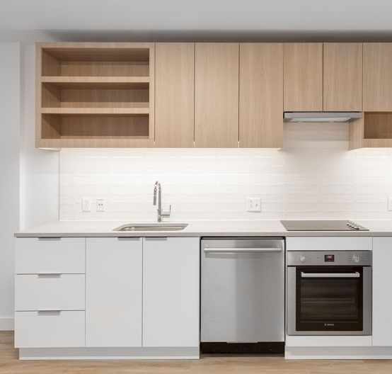 Thumbnail of kitchen with light wood cabinets and stainless steel appliances