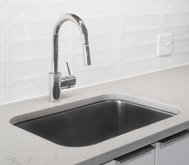 Thumbnail of stainless steel sink and white marble countertop
