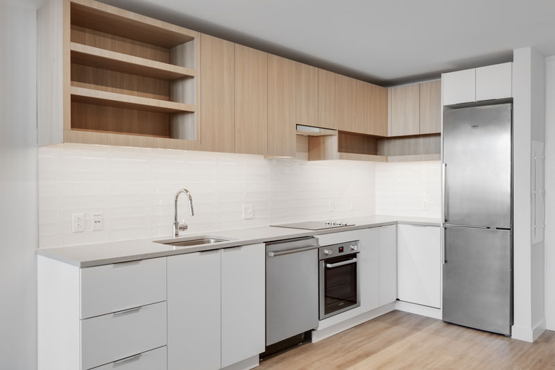 Thumbnail of white kitchen with light wood cabinets