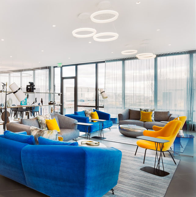 Modern large open common area with decorative lighting