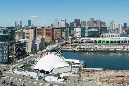 Aerial view of Boston skyline from the Seaport