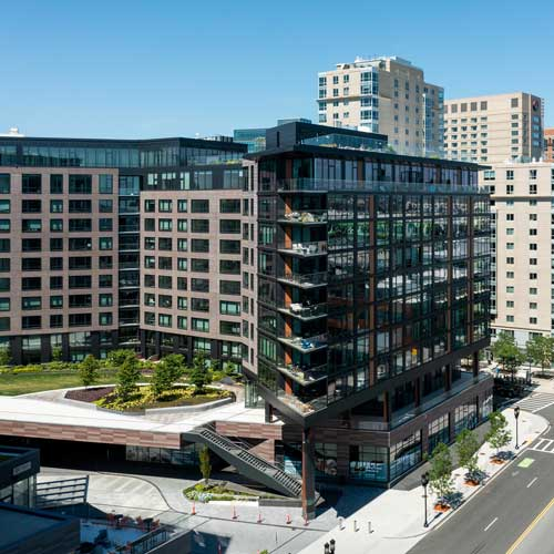 Aerial view of Ora apartment building in downtown Boston