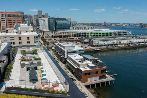 Rooftop view of Boston Seaport from Ora apartments