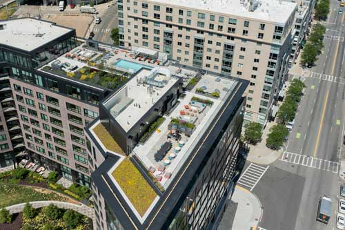 Aerial view of Ora apartment rooftop amenities
