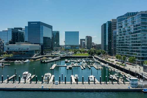 Boston Seaport marina surrounded by office buildings